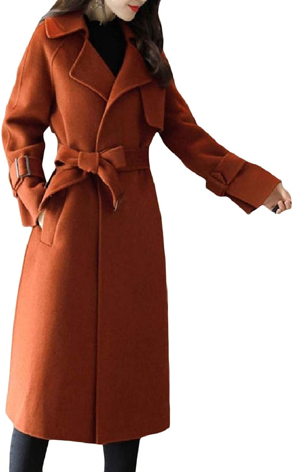 Abetteric Women Pocket Solid Mid Long Thick Thin Lapel Straps Woolen Coat