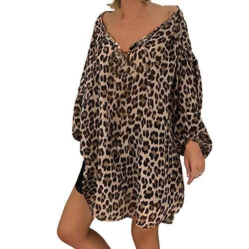 Damen Sommer Herbst T-Shirt V Ausschnitt Schulterfrei Lange Ärmel Lose Beiläufige Frauen Sexy Leopard Bedruckt Stretch Jahrgang Weste Tee aus Baumwolle Große Lose Bluse Tops (EU:48, Braun)