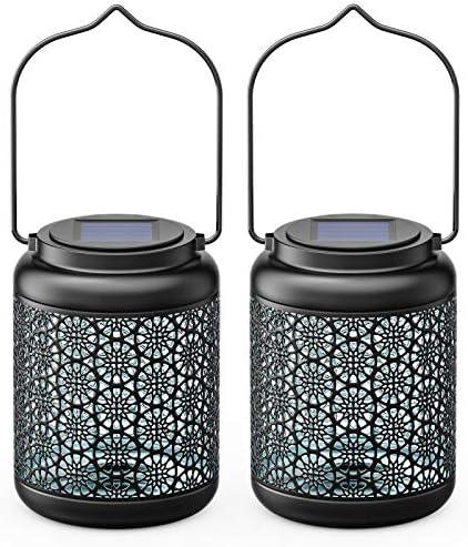 Solar Lanterns Outdoor Hanging 2 Pack RECHOO Solar Lights Outdoor Decorative Lantern Metal Waterproof product image