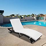 Henf Outdoor Patio Furniture Adjustable Chaise Lounge-Black All Weather Wicker and Thick White Cushion Sofa Couch Bed,Ergonomic Shape Handwoven Outdoor Patio Pool Furniture