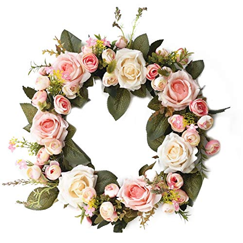 Mdjywl 35cm Silk Flower Wreath Rose Camellia Wreath Fake Garland for The Front Door Party Wedding Home Decor Decorat (Color : 02)