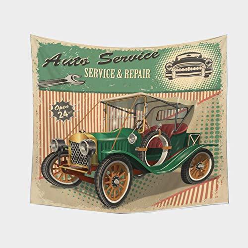 Tapiz cartel retro con tapiz de decoración del hogar de coche antiguo Vintage para colgar en la pared para dormitorio, sala de estar, dormitorio