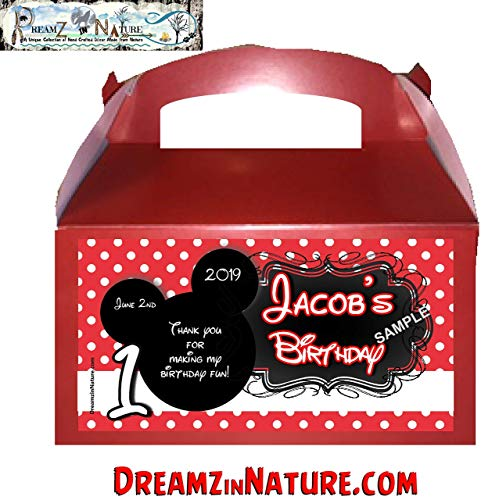 Personalized Mickey Mouse Ears Birthday Party Goody/Favor Boxes