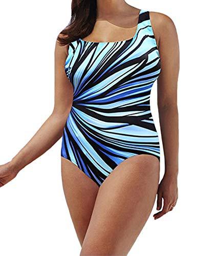 Legou Damen Kein Draht Bikini gepolstert U-Ausschnitt Sommer Strand Körperbedeckung Badeanzug Hellblau EU XXL (Asia XXXL)