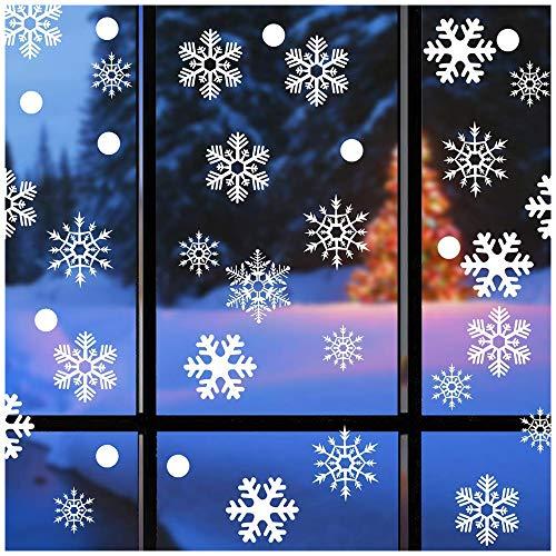 Amacoam Kerstraamafbeeldingen, raamdecoratie, kerst, zelfklevend, sneeuwvlokken, decoratie, 88 raamdecoratie, sneeuwvlokken met 22 witte stippen, voor deuren, etalages, vitrines, statisch hechtende stickers