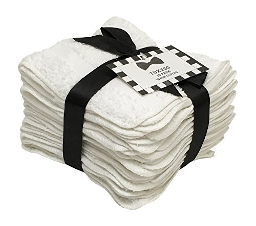 Household Bargains 10 Pack Tuxedo Wash Cloths Washcloths