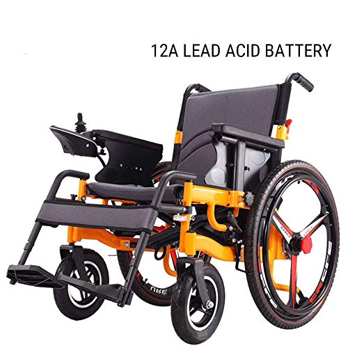 CHUDAN Komfort Elektrischer Rollstuhl mit Selbstantrieb Leichter Foldable Power Frei-Reiten - Electric Wheelchair für ältere, Behinderte und Hemiplegie Patienten (4 Verschiedene Batteriemodelle),A
