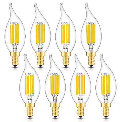 CRLight 6W LED Candelabra Bulb 3000K Soft White, 70W Equivalent 700LM, E12 Base Dimmable LED...