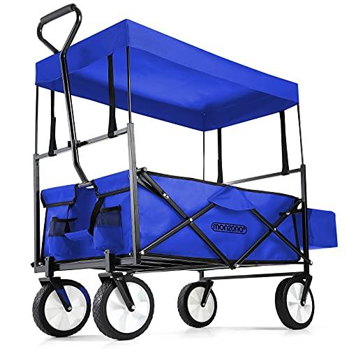 Deuba Bollerwagen faltbar klappbar Handwagen mit Dach Faltwagen Tragkraft Klappbollerwagen blau