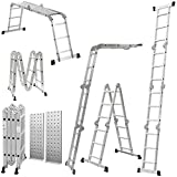Keraiz® 14-in-1 Multifunction Multipurpose 4.75M (15.5ft) 4x4 Aluminium Telescopic Folding Extension Ladder with Platform | Aluminium Ladder | Platform Ladder | Extension Ladder - EN131 Standards