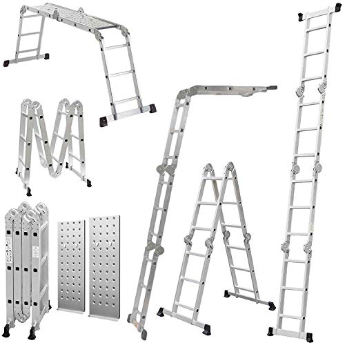 Keraiz 14-in-1 Multifunction Multipurpose 4.75M (15.5ft) 4x4 Aluminium Telescopic Folding Extension Ladder with Platform | Aluminium Ladder | Platform Ladder | Extension Ladder - EN131 Standards