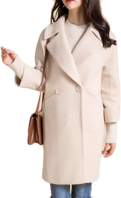 Cromoncent Womens SlimFit Solid Lapel Two Buttons Outerwear Pea Coat