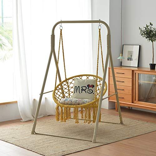HUWAI Hammock Chair Macrame Swing, Cotton Rope Handwoven Hanging Chair 330 Pounds Capacity, Macrame Tassels Hammock Swing for C-Hammock Stand, Living Room, Yard, Garden, Balcony,Yellow