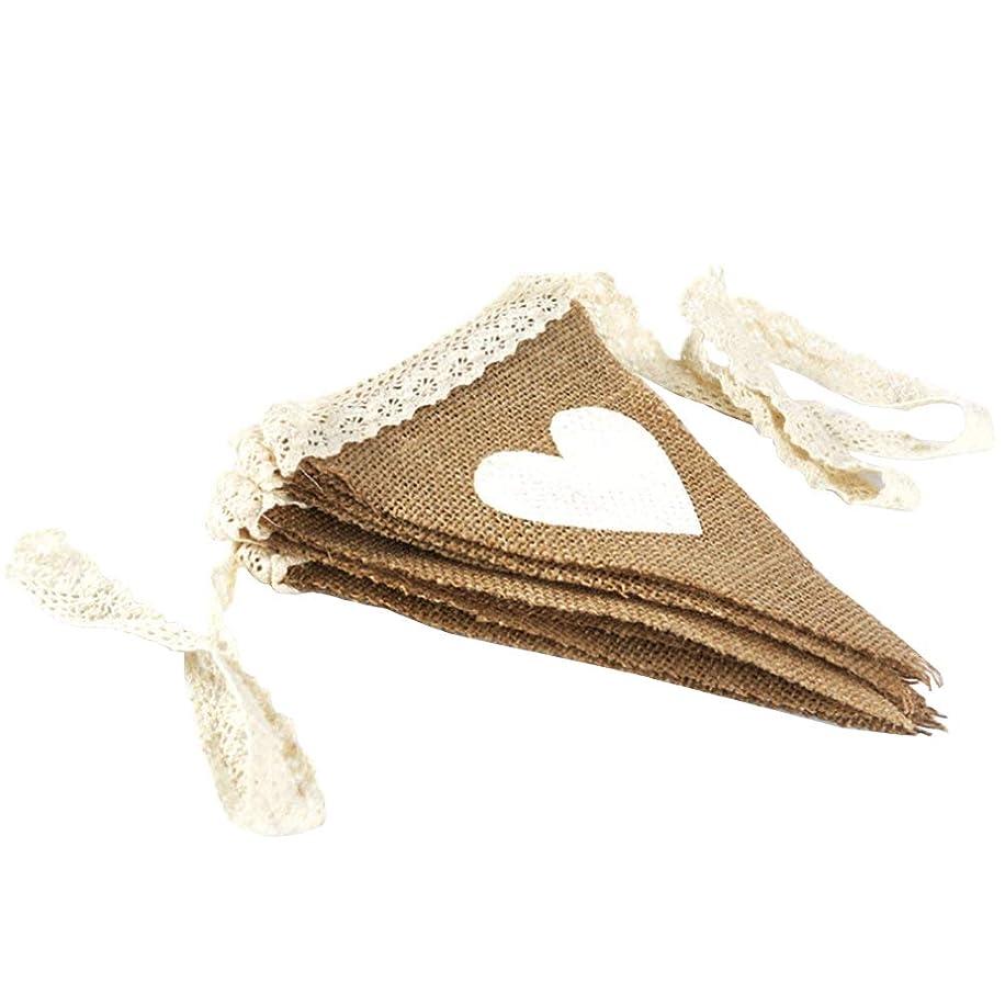 AZOWA Burlap Banner Wedding Triangle Pennant Hessian Bunting Decroration for Party Decoration