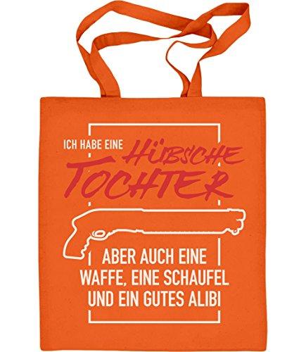 Shirtgeil Geschenk für Vater einer hübschen Tochter Jutebeutel Baumwolltasche One Size Orange