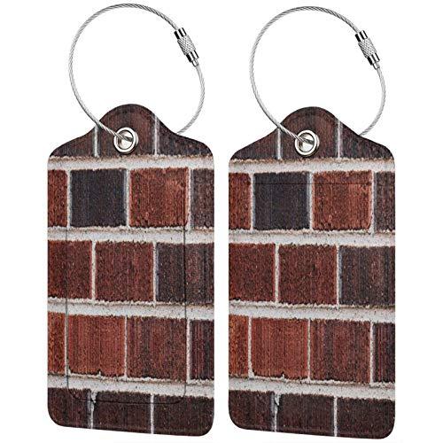 FULIYA Juego de 2 etiquetas de equipaje seguras de alta gama de cuero para maletas, tarjetas de visita o bolsa de identificación de viaje, ladrillos, pared, alivio