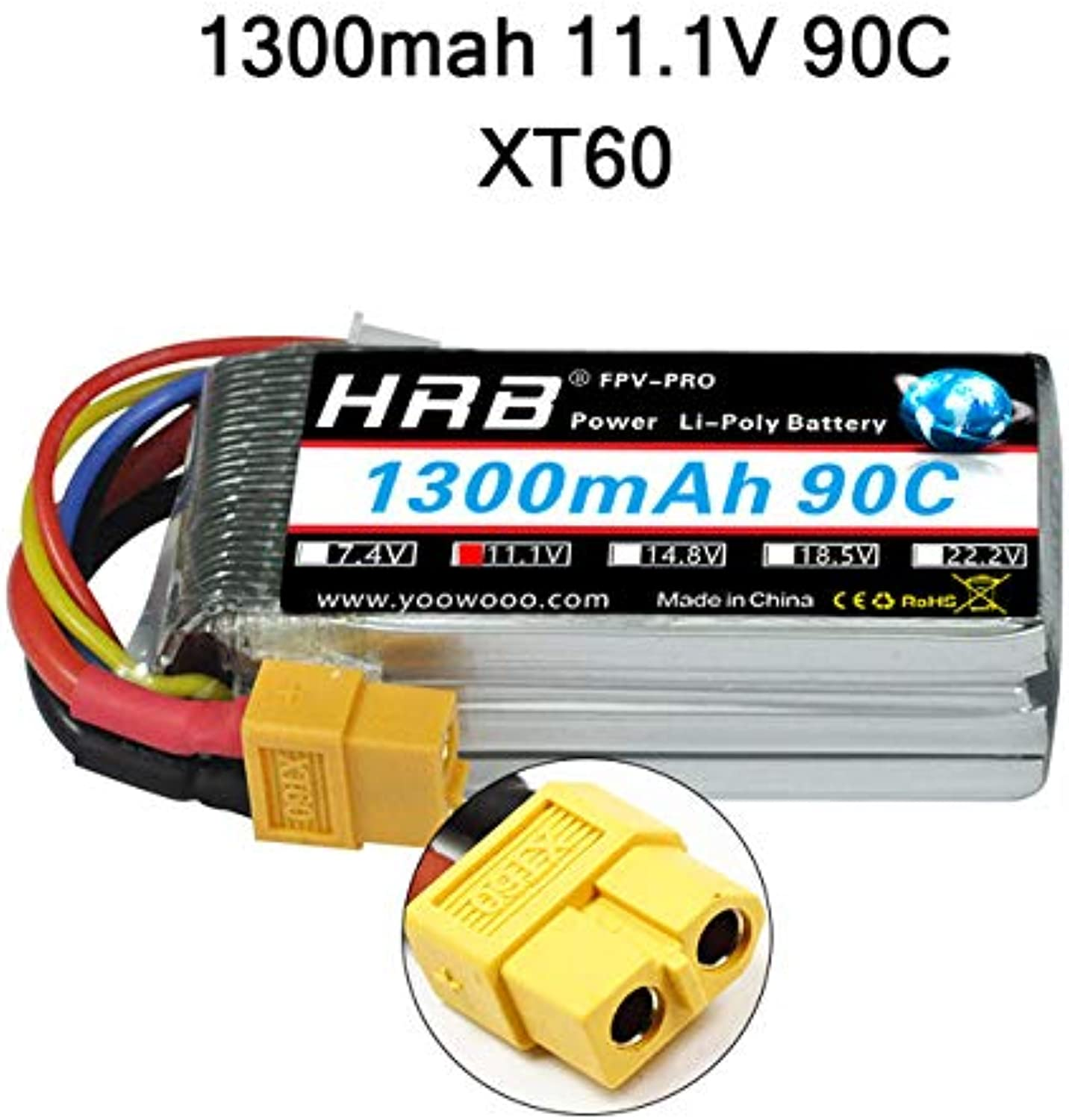 Accessories HRB 1800mah Lipo Battery 2S 3S 4S 2200mah 5000mah 6000mah 2600mah 11.1V 7.4V 14.8V 5S 6S XT60 Deans T TRX Airplane RC Parts Car  (color  1300mah 11.1V XT60, Delivery from 15 to 20 Days)