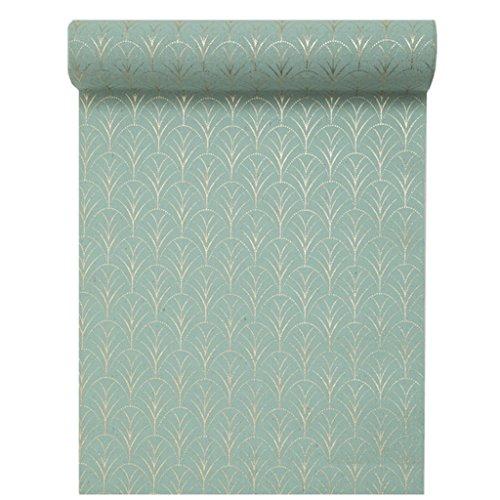 Tischläufer Grün mit Gold-Druck 28 cm x 3 m Dekostoff Banner Tischdecke Tischband