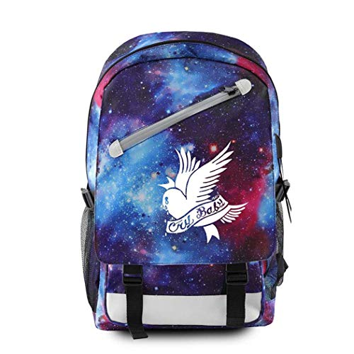 CQW Lil Peep Camuflaje Cielo Estrellado Estampado cinturón Cadena Mochila portátil Bolsa de Viaje Bolsa de Ordenador Estudiante Aula Mochila Escolar (12)