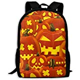 School Backpack Halloween Pattern Emoji Bookbag Casual Travel Bag For Teen Boys Girls