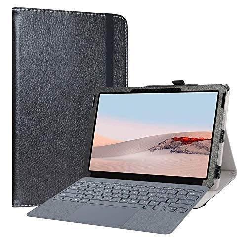 LiuShan Compatible with Microsoft Surface Go 2 Case,PU Leather Slim Folding Stand Cover for Microsoft Surface Go 2 2020 / Surface G0 10' 2018 Tablet (Not Fit New Microsoft Surface Pro X Tablet),Black