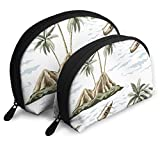 Hawaiian Vintage Insel Palme Meer Tragbare Taschen Clutch Pouch Tragbare Shell Makeup...