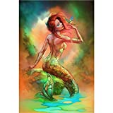 DIY 5D Diamond Painting Kits for Adults Full Drill Embroidery Paintings Rhinestone Pasted DIY Painting Cross Stitch Arts Crafts for Home Wall Decor 40x50cm/15.7x19.6Inches(Mermaid)