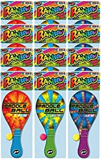 JA-RU Wood Paddle Ball with String (Pack of 12) Real Quality Paddle Balls Classic Game Toy | Item #751-12A