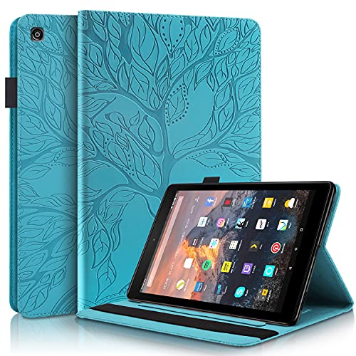 Case for Kindle Fire HD 8 Old Model 2018 2017 2016, UGOcase Premium PU Leather Drop Proof Folding Stand Pen Holder Card Slot Wallet Business Cover Case for 8 inch Fire HD 8 Tablet, Blue Embossed Tree