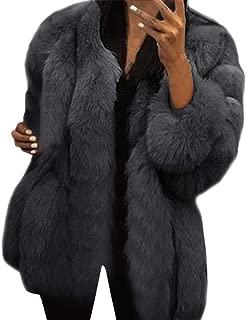 haoricu Womens Faux Fur Plus Size Furry Warm Long Sleeve Outwear Coat Ladies Plus Size Short Jacket
