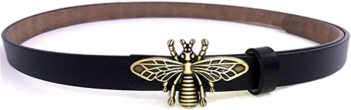 MoYoTo Women's 0.7″Thin Vintage Copper Bee Buckle Leather Belts Casual Dress Belts