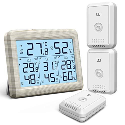 KeeKit Indoor Outdoor Thermometer, Temperature Humidity Monitor with 3 Wireless Sensors, Hygrometer Meter Gauge with LCD Backlight, Min/Max Record for Home, Office, Restaurants, Bars – Wooden White