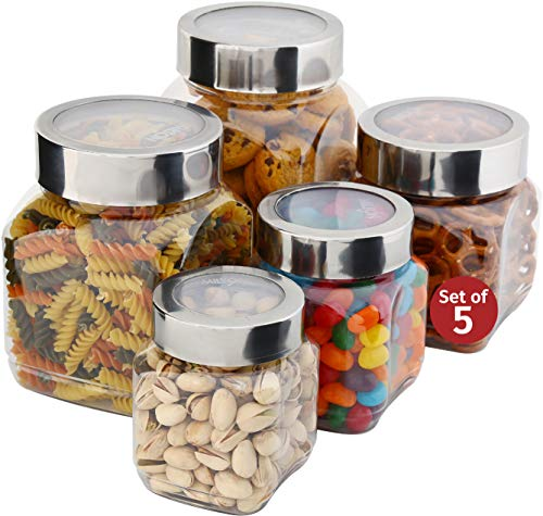 Plastic Storage Jars With Lids; Milton Food Storage Containers 5 Multi Size Set Clear Square Lightweight PET Canisters; Wide-Mouth, Airtight Lids Caps; Large Big And Small Empty Jars 5-Pack BPA Free