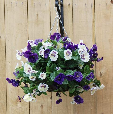 Artificial Silk Pansy Ball Hanging Basket - Blue and White Pansies