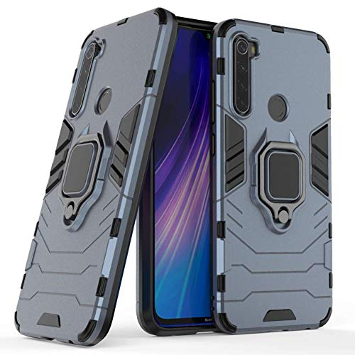 Case for Xiaomi Redmi Note 8 DWaybox Ring Holder Iron Man Design 2 in 1 Hybrid Heavy Duty Armor Hard Back Case Cover Compatible with Xiaomi Redmi Note 8 6.3 Inch (Dark Blue)