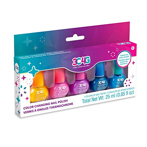 Three Cheers for Girls - Color Changing Nail Polish Set - Nail Polish Set for Girls & Teens - Includes 5 Colors - Non-Toxic Nail Polish Kit for Kids Ages 8+