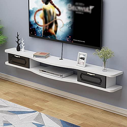 Mueble de TV Mesa Flotante,Gabinete de TV de Montaje en Pared, Estante de Almacenamiento de Fondo de Pared con Cajones para Caja de TV por SatéLite con DVD/B/Los 140CM
