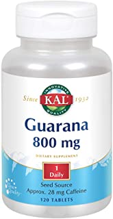 KAL Guarana 800 | Approx. 28 milligrams of Naturally Occurring Caffeine | Healthy Energy and Focus Support | 120 Tablets