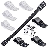 Bebe Earth - Furniture and TV Anti-Tip Straps (8-Pack) for Baby Proofing and Child Protection - Adjustable Wall Anchor Safety Kit - Secure Cabinets and Bookshelf from Falling (White/Black)