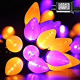 RECESKY C7 Halloween String Lights - 50 LED 24Ft Smooth Bulb Orange Purple Light with 30v Plug in - Extendable 8 Modes Fairy Halloween Lighting for Outdoor Garden Yard Home Halloween Party Decorations