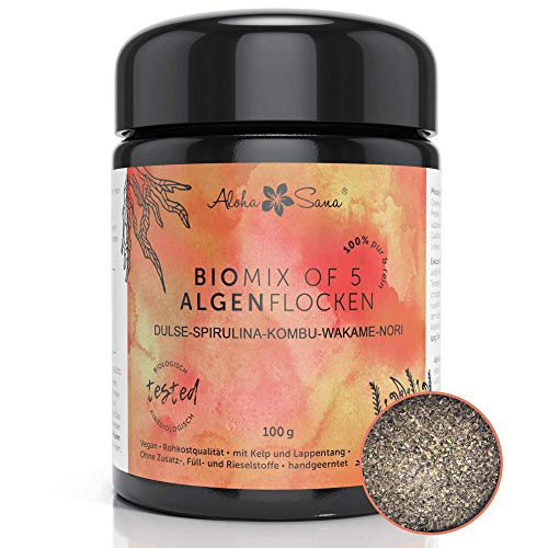 Aloha Sana® | Mix of 5 Algen Flocken Bio Atlantik frisch aus Irland (100g) | Einzigartiger Mix aus Dulse, Spirulina, Kelp (kombu), Wakame, & Nori | laborgeprüft und energetisch getestet