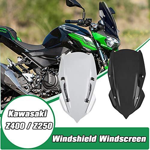 Lorababer Motorrad Windschild Windabweiser Scheibe Windschutzscheibe Visier Deflektor Passend für Kawasaki Z400 Z250 2019 2020 2021 Z-400 Z-250 (Rauch)