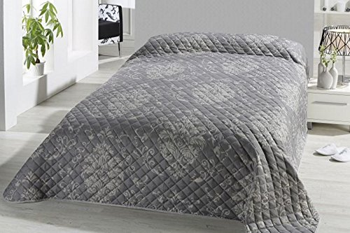 FashionundJoy XL Bettüberwurf Tagesdecke gesteppt 220x240 Steppdecke Barock Ornamente Überwurf ÖKOTEX Decke Typ456