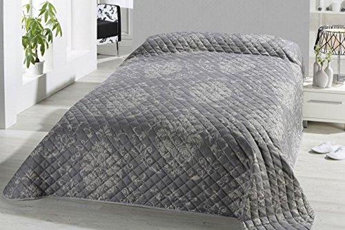 Fashion&Joy XL Bettüberwurf Tagesdecke gesteppt 220x240 Steppdecke Barock Ornamente Überwurf ÖKOTEX Decke Typ456