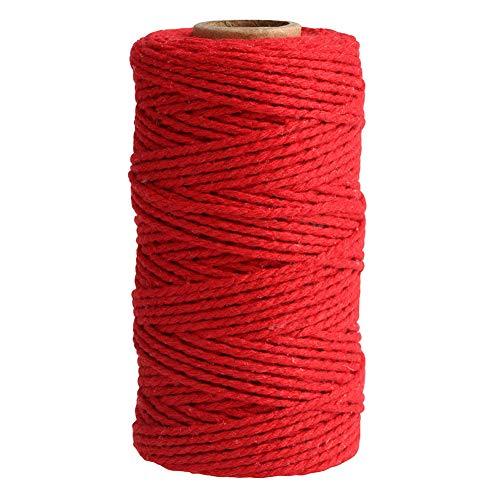 Uposao Hilo de macramé de 2 mm, hilo de algodón de macramé, cuerda de algodón para manualidades, manualidades, pared, colgador de plantas, cordón decorativo, atrapasueños, cuerda de punto, color rojo