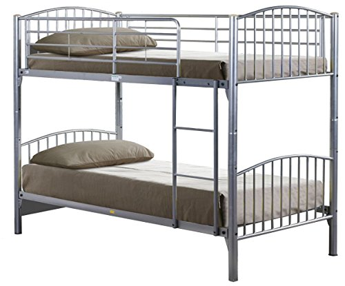 Humza Amani Lynton Metal Bunk with 2 Flex 1000 Reflex Foam Mattresses - Single, 4-Piece, Silver