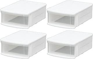 アイリスオーヤマ チェストI 4個セット 幅37.6×奥行52.8×高さ19.7cm ホワイト/クリア M