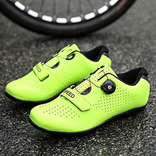 Herren Rennrad Fahrradschuhe Spin Schuhe mit kompatiblen Stollen Peloton Schuh mit SPD und Delta für Herren Lock Pedal Fahrradschuhe (Green,EU42-UK8.5)