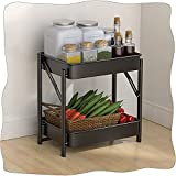 WUZMING Plegable Estantería De Cocina, 2 Niveles Estantería De Almacenamiento Organizador De Estantería por Cuarto De Baño Cocina Balcón Sala (Color : Black, Size : 44x30x40cm)