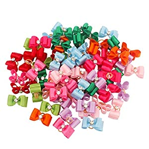 Traumdeutung Dog Hair Bows with Rubber Bands for Small Dogs Pet Grooming Accessories Pack of 20pcs/50pcs (Mix Color, 20pcs)